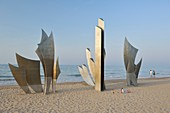 France, Calvados, Saint Laurent sur Mer, Omaha Beach, sculpture Les Braves by the sculptor Anilore Banon in honor of the 60th anniversary of the landing of Normandy, works in 3 elements: The Wings of Hope, Standing Freedom, The Wings of Fraternity