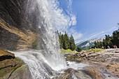 France, Haute Savoie, Giffre valley, Sixt Fer a Cheval, labelled Les Plus Beaux Villages de France (The Most Beautiful Villages of France), Cascade du Rouget waterfall
