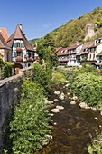 France, Haut Rhin, Route des Vins d'Alsace, Kaysersberg , the half timbered houses lining the river Weiss since the strengthened bridge
