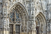 France, Somme, Abbeville, 15th century Saint-Vulfran Collegiate Church, masterpiece of flamboyant Gothic architecture, western facade
