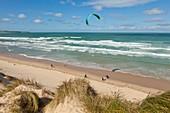 France, Pas de Calais, Wissant, kitesurf and Cap Gris Nez in the background
