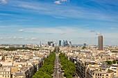 France, Paris, view of the avenue de la Grande Armee and La Defense from the Arc de Triomphe