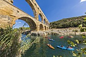 France, Gard, Vers-Pont-du-Gard, the Pont du Gard listed as World Heritage by UNESCO, Big Site of France, Roman aqueduct from the 1st century which steps over the Gardon