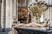 France, Pas de Calais, Saint Omer, the Gothic cathedral of Notre Dame de Saint Omer, tomb of Eustache de Croy, provost of Saint Omer died in 1530, represented twice kneeling in episcopal costume and lying naked