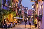 France, Haut Rhin, Route des Vins d'Alsace, Riquewihr labelled Les Plus Beaux Villages de France (One of the Most Beautiful Villages of France), street General De Gaulle