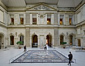 France, Paris, area listed as World Heritage by UNESCO, Louvre museum, Sphinx courtyard, roman antiquities department, mosaic of the Seasons circa 325 AD coming from Daphne (Antakya Turkey)