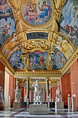 France, Paris, area listed as World Heritage by UNESCO, Louvre museum, roman antiquities department, summer apartment of Anna of Austria. Seasons Room. Paintings by Romanelli in 1658, with in the center Apollo and Diana