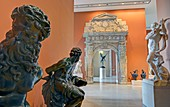 France, Paris, area listed as World Heritage by UNESCO, Louvre museum, french sculptures department, early XVIth century artworks room with two of the Four Captives of the statue of Henri IV on the Pont Neuf