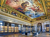 France, Paris, area listed as World Heritage by UNESCO, Louvre museum, Charles X museum, second room, painting by F.J. Heim between 1826 and 1827 the Vesuvius receiving from Jupiter the fire consuming Herculaneum, Pompei and Stabies. Room of greek figurines made of terra cotta.