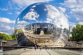 France, Paris, La Villette Park, La Géode is a cinema in a geodesic dome building created by the architect Adrien Fainsilber in 1985