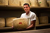France, Cantal, Salers country, Polminhac, Yannick Navarro, Salers AOP cheese producer