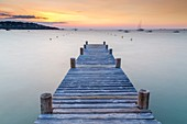 France, South Corsica, Porto-Vecchio, Gulf of Santa Giulia, wooden pontoon