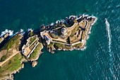 France, Cotes d'Armor, Cote d'Emeraude (Emerald Coast), Plevenon, Fort La Latte (aerial view)