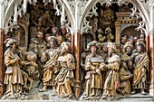 France, Somme, Amiens, Notre-Dame cathedral, jewel of the Gothic art, listed as World Heritage by UNESCO, the southern end of the choir and its high reliefs, story of Saint James the Greater and Hermogenous the magician (dated after 1511)