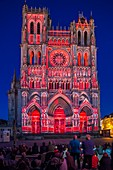 France, Somme, Amiens, Notre-Dame cathedral, jewel of the Gothic art, listed as World Heritage by UNESCO, sound and light show presenting the original polychromy of the facades
