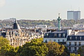 France, Paris, Haussmanian buildings, the column of the Bastille engineering school, the Mercuriales Tower