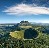 France, Puy de Dome, area listed as World Heritage by UNESCO, Orcines, Regional Natural Park of the Auvergne Volcanoes, the Chaîne des Puys, Puy Pariou in the foreground (aerial view)
