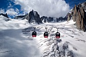 France, Haute Savoie, Chamonix, the glacier of the Giant on the French side of the Mont-Blanc massif, the main supplier of ice in the Sea of Ice, seen from panoramic gondolas