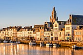 France, Loire Atlantique, Guerande peninsula, Le Croisic, the docks and 15th and 16th centuries Notre Dame de Pitie church, Flamboyant Gothic style, at sunrise