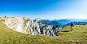 France, Isere, Vercors Regional Natural Park, National Nature Reserve of the Vercors Highlands, hiking along Ravin des Arches, Mount Aiguille (alt : 2087 m) in the background