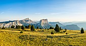 France, Isere, Vercors Regional Natural Park, National Nature Reserve of the Vercors Highlands, bivouac at the foot of Tete Chevaliere (alt : 1951 m), facing Mount Aiguille (alt : 2087 m) and Grand Veymont (alt : 2341 m), highest point of the Vercors massif