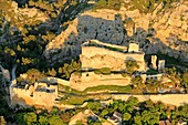 France, Bouches du Rhone, Boulbon, feodal castle (11th) listed as historic monument (aerial view)