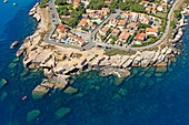 France, Bouches du Rhone, Martigues, La Couronne neighbourhood, Anse du Verdon (aerial view)