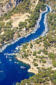 France, Bouches du Rhone, Cassis, La Presqu'ile, Cap Cable, Calanque de Port Miou (aerial view)