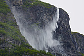 Kjelfossen waterfall near Gudvangen, disheveled by the wind, Sogn og Fjordane, Norway, Europe