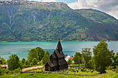View of Urnes Stave Church with Lustrafjorden, Luster Municipality, Sogn og Fjordane, Norway, Europe