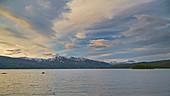 Morning light on Lake Fustvatnet near Mosjoen, Nordland, Norway, Europe