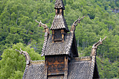 Carved scorpionfish on the roof of Borgund stave church, Laerdal municipality, Sogn og Fjordane, Norway, Europe