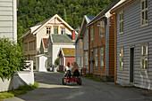 Traditional wooden houses in Laerdalsöyri (Laerdal), Sogn og Fjordane, Norway, Europe