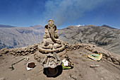 The Hindu god Ganesha watches over the crater of Gunung Bromo, Java Island, Indonesia, Southeast Asia, Asia