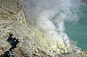Sulfur springs in the crater of Gunung Ijen, Java Island, Indonesia, Southeast Asia, Asia