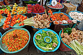 Rich selection, vegetables and spices on a market in Ambon, Moluccas, Indonesia, Southeast Asia, Asia
