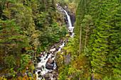 Fluss, Wasserfall, Schlucht, Tal, Berge, Wald, Fjordnorwegen, Norwegen, Europa\n