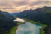 Stryn, lake, fjord, Oppstrynsvatnet, aerial view, Fjord Norway, Norway, Europe