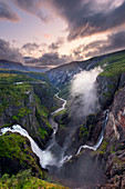 Voringsfossen, waterfall, gorge, canyon, sunset, Fjord Norway, Norway, Europe