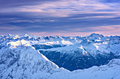 Sunset, blue hour, mountains, peaks, view, Zugspitze, Bavaria, Germany, Europe