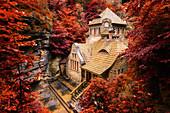 Stará Plynárna, Herbst, Laubfärbung, Hřensko, Nationalpark, Böhmische Schweiz, Tschechien, Europa\n