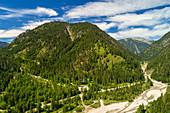 Luftaufnahme, Torsäulenbach, Ammerwald, Alpen, Garmisch-Patenkirchen, Bayern, Deutschland, Europa\n