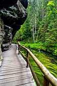 Kamnitz, river, footbridge, hiking trail, Mezni Louka, National Park, Bohemian Switzerland, Czech Republic, Europe