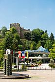 Kurhaus and the ruins of Baden Castle, Badenweiler, Markgräflerland, Black Forest, Baden-Württemberg, Germany