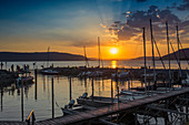 Sunset and marina, near Überlingen, Lake Constance, Baden-Württemberg, Germany