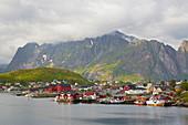 Blick auf Hafenstadt Reine, Moskenes, Lofoten, Nordland, Norwegen, Europa