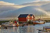 Boats in the port of Ramberg, Flakstadoeya, Lofoten, Nordland, Norway, Europe