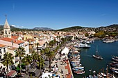 France, Var, Sanary sur Mer, from the Roman Tower, the port, traditional fishing boats, the Pointus, sea trip during the Heritage Days