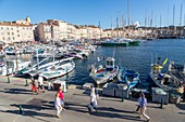 "France, Var, Saint-Tropez, the harbour, môle Jean Réveille, the traditional yachts on the occasion of the ""Voiles de Saint-Tropez"""