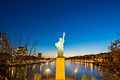 France, Paris, the banks of the Seine, the island of the swans with the Statue of Liberty